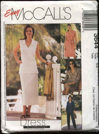 McCall's Sewing Pattern 3644 Misses Size 14-20 Easy Wardrobe Dress Tops Skirt Pants