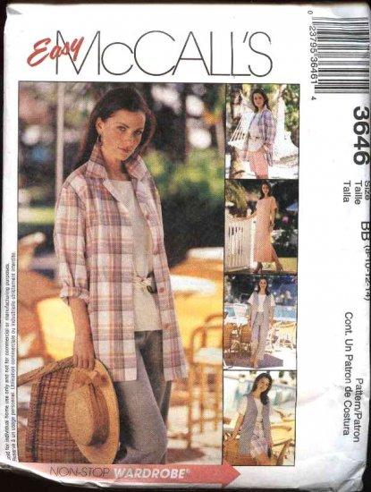 McCall's Sewing Pattern 3646 Misses Size 16-22 Easy Wardrobe Dress Top Pants Shirt Jacket Shorts