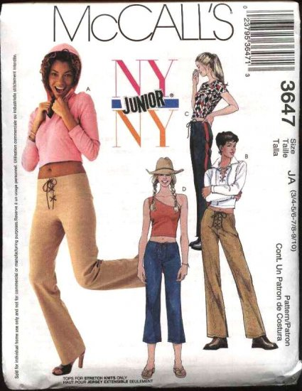 McCall's Sewing Pattern 3647 Junior Size 3/4-9/10 NYNY Wardrobe Tops Pants Capris