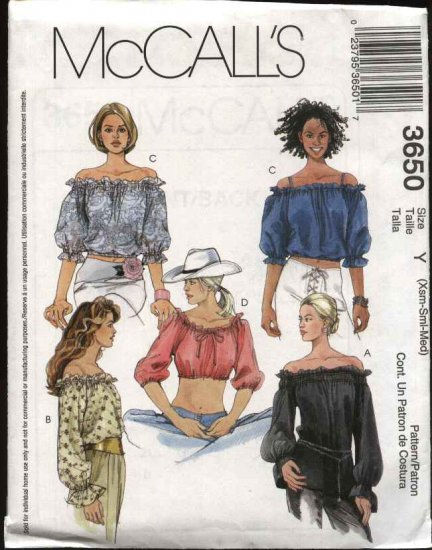 McCall's Sewing Pattern 3650 Misses Size 4-14 Peasant Puffy Sleeve Tops