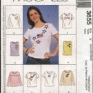 McCall's Sewing Pattern 3655 M3655 Misses Size 16-22 Knit T-shirt Top Sleeveless Short Long Sleeves