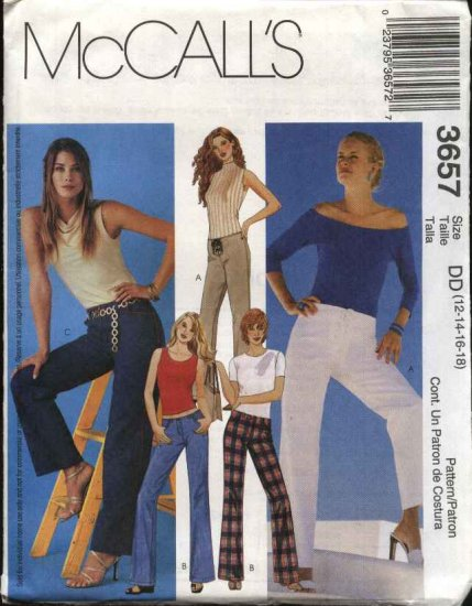 McCall's Sewing Pattern 3657 Misses Size 6-12 Low Rise Fitted Slightly Flared Long Pants Jeans