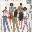 McCall's Sewing Pattern 3659 Misses Size 6-12 Basic Fitted Cropped Capri Pants Straight Skirt