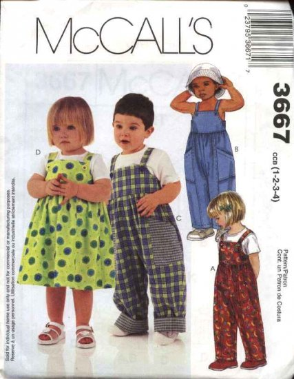 McCall's Sewing Pattern 3667 Boys Girls Size 1-2-3-4 Jumpsuit Overalls Jumper
