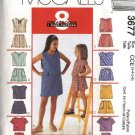 McCall's Sewing Pattern 3677 M3677 Girls Size 3-6 Easy Summer Pullover Tops Skorts