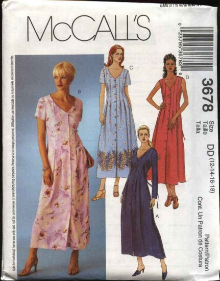 McCall's Sewing Pattern 3678 Misses Size 8-14 Button Front Pleated Dress
