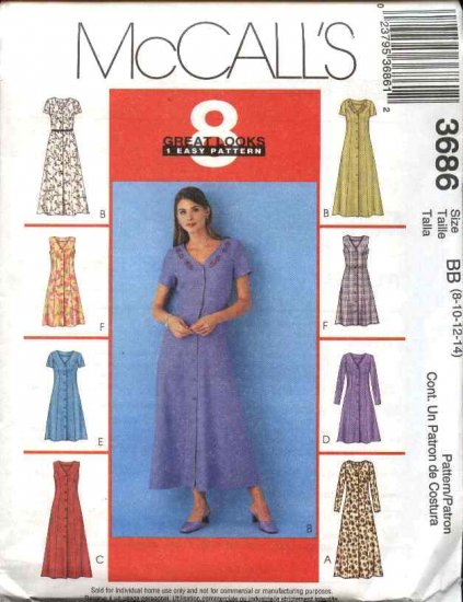 McCall's Sewing Pattern 3686 Misses Size 8-14 Easy A-line Button Front Princess Seam classic Dress