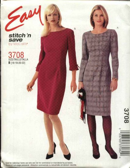 McCall's Sewing Pattern 3708 Misses Size 16-22 Easy Straight Dress