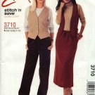McCall's Sewing Pattern M3710 3710 Misses Size 8-14 Easy Button Front Vest Pull On Skirt Pants