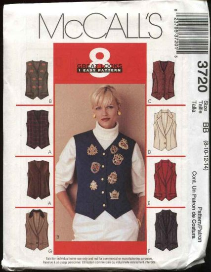McCall's Sewing Pattern 3720 Misses Size 8-14 Easy Fitted Button Front Tuxedo Style Lined Vest