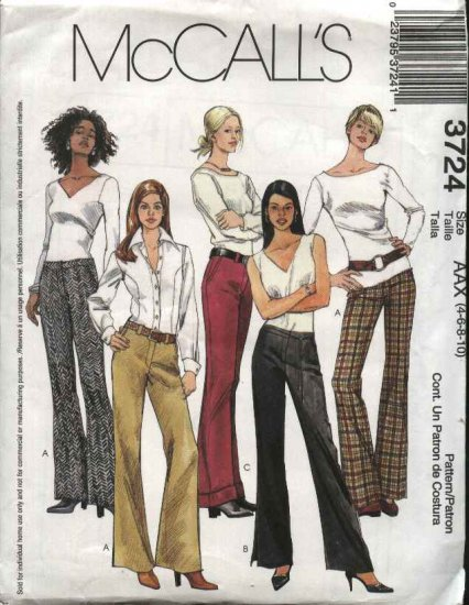 McCall's Sewing Pattern 3724 Misses Size 4-10 Low Rise Bell Bottom Wide Leg Fitted Pants