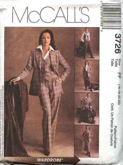 McCall's Sewing Pattern 3726 Misses Size 16-22 Wardrobe Lined Jacket Vest Pants Skirt Suit
