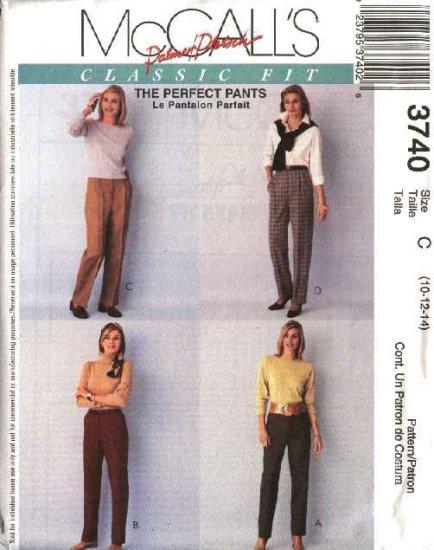 McCall's Sewing Pattern 3740 Misses Size 10-14 Palmer/Pletsch Classic Fit Long Pants Slacks