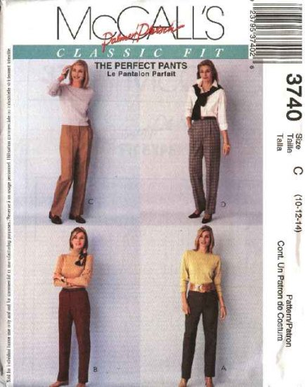 McCall's Sewing Pattern 3740 Misses Size 14-18 Palmer/Pletsch Classic Fit Long Pants Slacks