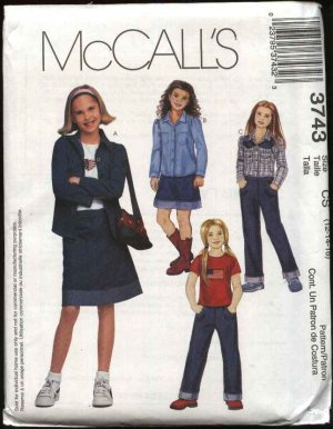 McCall's Sewing Pattern 3743 Girls Size 12-16 Wardrobe Knit T-Shirt Top Shirt Skirt Pants