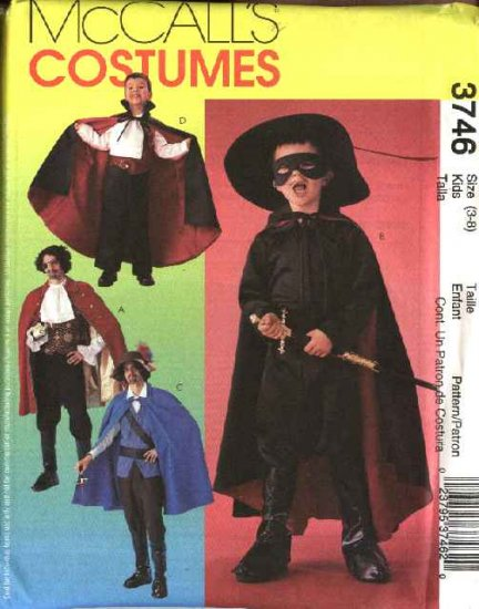 McCall�s Sewing Pattern 3746 Boys Size 3-8 Costumes Pirate Swashbuckler Vampire Zorro