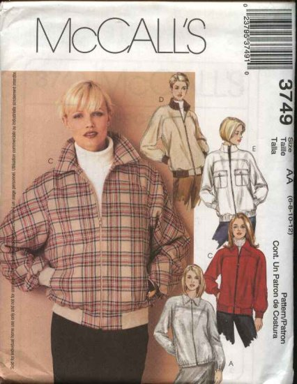 McCall's Sewing Pattern 3749 Misses Size 6-12 LIned Zipper Front Long Sleeve Baseball Jackets
