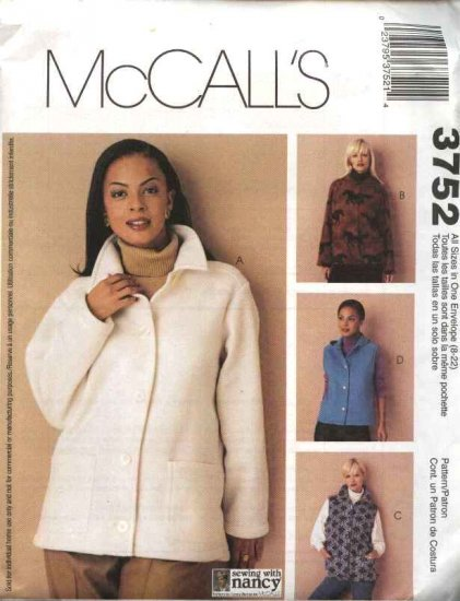 McCall's Sewing Pattern 3752 Misses Sizes 8-22 Button Snap Front Fleece Wool Hooded Jacket Vests