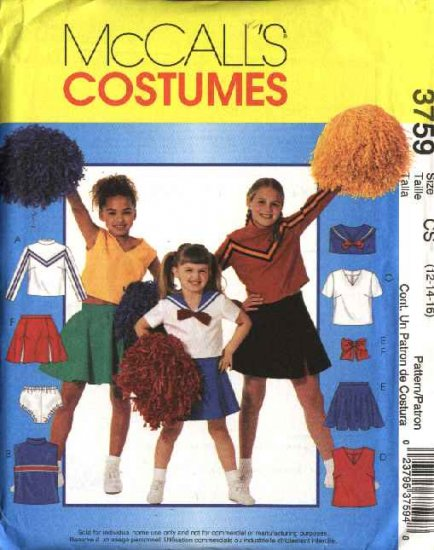 McCall's Sewing Pattern 3759 Girls Size 12-16 Costume Cheerleader Uniform Skirts Tops Panties
