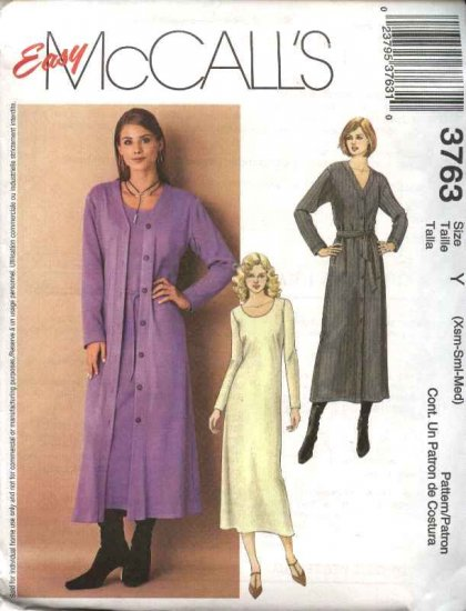 McCall's Sewing Pattern 3763 Missses Size 4-14 Easy Knit Pullover Dress Cardigan Duster Belts