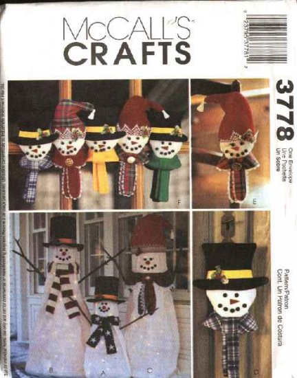 McCall�s Sewing Pattern 3778 Christmas  Winter Decorations Lighted Snowman Ornaments
