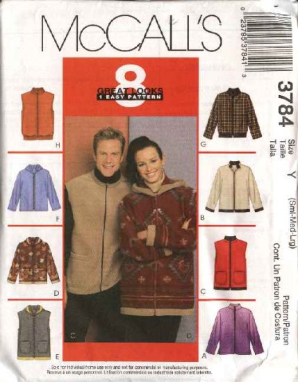 """McCall's Sewing Pattern 3784 470 Mens Misses Unisex Chest Size 34-44"""" Zipper Front  Hooded Jacket."""