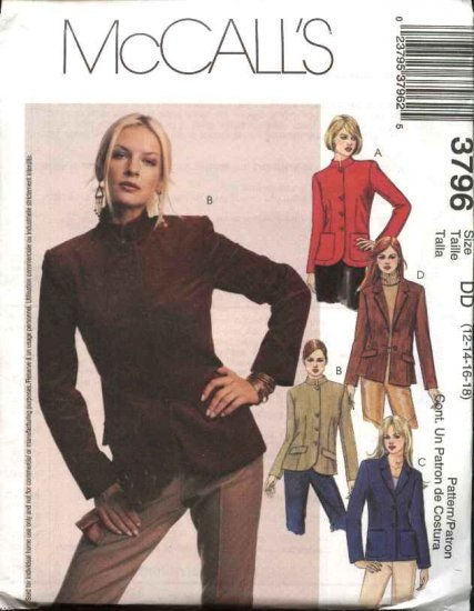 McCall's Sewing Pattern 3796 Misses Size 12-18 Lined Button Front Jackets Blazers