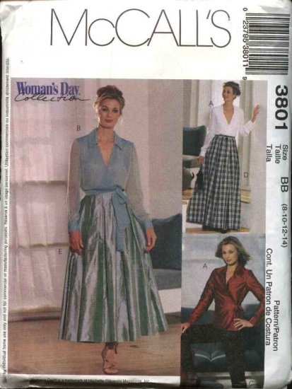 McCall's Sewing Pattern 3801 M3801 Misses Size 8-14 Wrap Front Top Full Skirt Fitted Long Pants