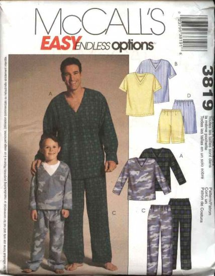 McCall's Sewing Pattern M3819 3819 Men Boys Sizes Men Boys Pajamas Pullover Top Pull On Pants Shorts