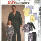 McCall's Sewing Pattern 3819 Men Boys Sizes Men Boys Pajamas Pullover Top Pull On Pants Shorts