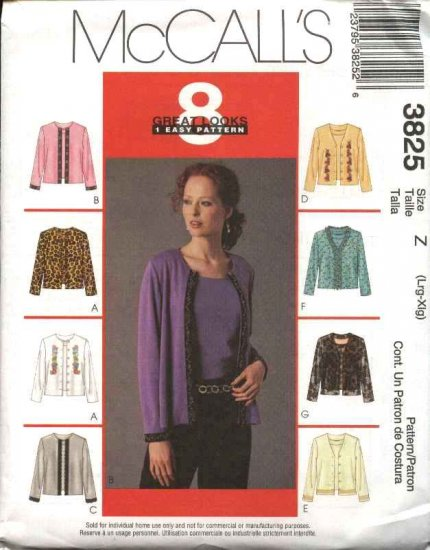 McCall's Sewing Pattern 3825 Misses Size 16-22 Jacket Cardigan Sleeveless Pullover Top Twin Set
