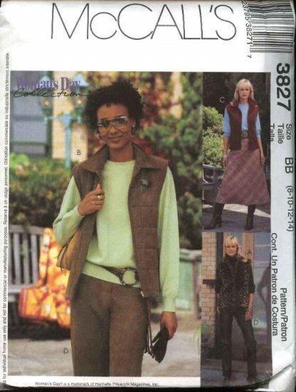 McCall's Sewing Pattern 3827 Misses Size 8-14 Lined Unlined Vest Fitted Long Pants Bias Skirt
