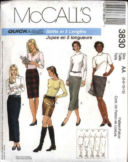 McCall's Sewing Pattern 3830 Misses Size 6-12 Easy Fitted Straight Short Long Skirt