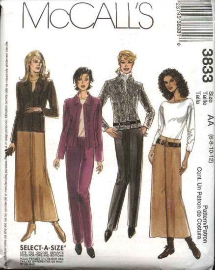 McCall's Sewing Pattern 3833 Misses Size 6-12 Button Front Unlined Jacket Pants Long Skirt Suit
