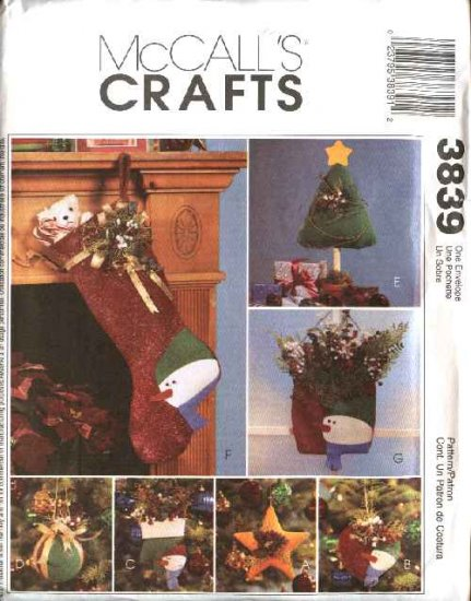 McCall�s Sewing Pattern 3839 Christmas Snowman Decorations Stockings Ornaments Centerpiece
