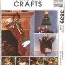 McCall's Sewing Pattern 3839 Christmas Snowman Decorations Stockings Ornaments Centerpiece