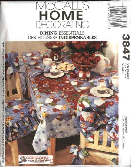 McCall's Sewing Pattern 3847 Dining Room Essentials Napkin Placemat Runner Tablecloth Chair Cover