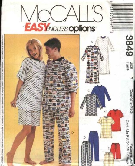 McCall's Sewing Pattern M3849 3849 Mens Misses Chest Size 29½-36 Pajamas Nightshirt Top Pants