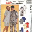 McCall's Sewing Pattern 3849 Mens Misses Unisex Chest Size 29½-36 Pajamas Nightshirt Top Pants