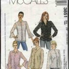 McCall's Sewing Pattern 3851 Misses Size 6-12 Button Front Long Sleeve Blouse Camisole Top