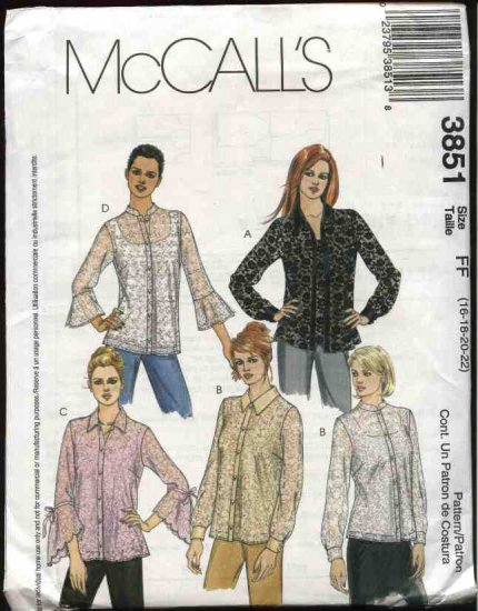 McCall's Sewing Pattern 3851 Misses Size 16-22 Button Front Long Sleeve Blouse Camisole Top