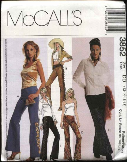 McCall's Sewing Pattern 3852 Misses Size 4-10 Fitted Low Rise Bell Bottom Pants Applique Fringe