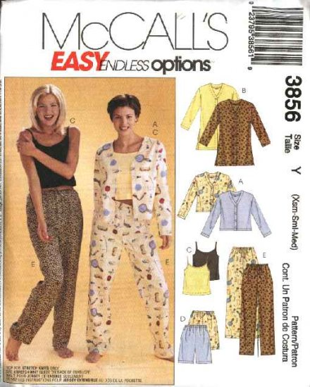 McCall�s Sewing Pattern 3856 M3856 Misses Size 16-22 Easy Pajamas Top Camisole Shorts Pants