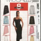McCall's Sewing Pattern 3857 Misses Size 6-12 Pull On A-Line Skirts Asymmetrical Hem Trim Variations