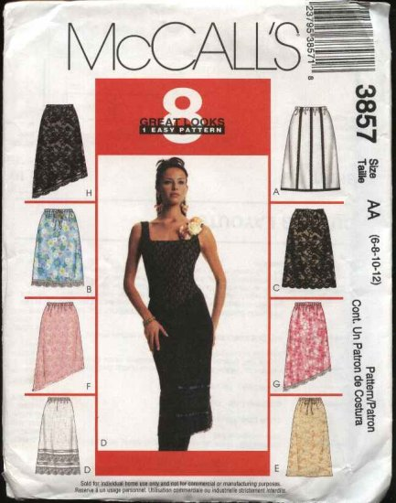 McCall's Sewing Pattern 3857 Misses Size 12-18 Pull On A-Line Skirts Asymmetrical Hem Variations