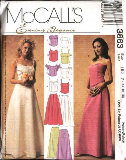 McCall's Sewing Pattern 3863 Misses Size 12-18 Formal Prom Wedding 2-Piece Dress Gown Top Skirt