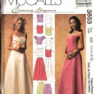 McCall's Sewing Pattern 3863 Misses Size 16-22 Formal Prom Wedding 2-Piece Dress Gown Top Skirt