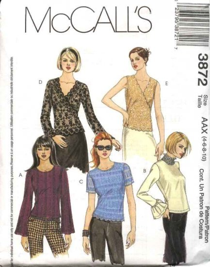 McCall's Sewing Pattern 3872 Misses Size 4-10 Pullover Knit Short Long Sleeves Sleeveless Tops