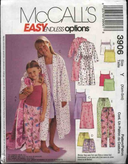 McCall's Sewing Pattern 3906 M3906 Girls Size 3-6 Easy Bathrobe Camisole Top Nightgown Pants Shorts
