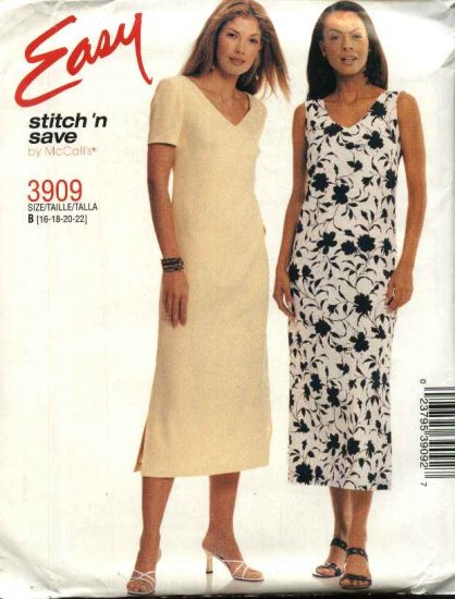 McCall's Sewing Pattern 3909 Misses Size 16-22 Easy Sleeveless Short Sleeve Summer Dress Jumper